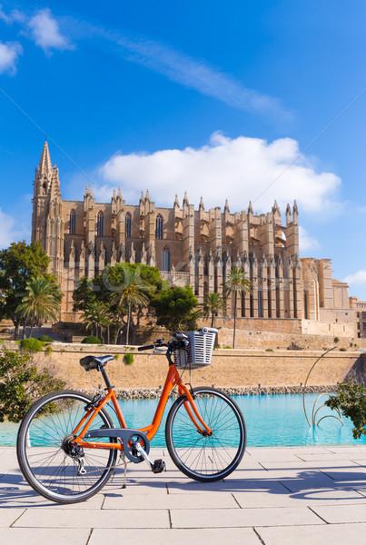 Majorca Palma Cathedral Seu and bicycle Mallorca Stock photo © lunamarina
