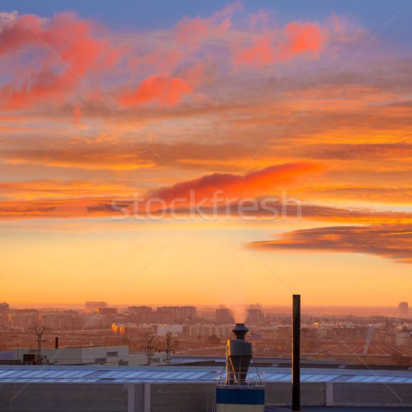 Baca gündoğumu Valencia İspanya endüstriyel gökyüzü Stok fotoğraf © lunamarina