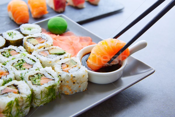 Photo stock: Sushis · maki · sauce · de · soja · wasabi · Californie · rouler