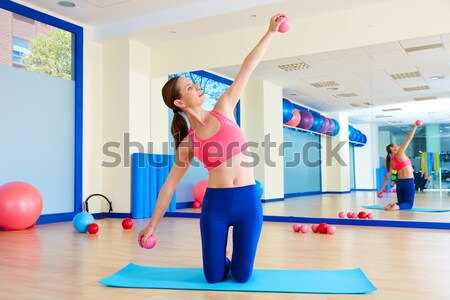 Pilates woman teaser exercise workout at gym Stock photo © lunamarina