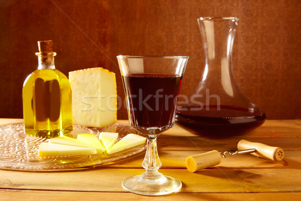 Manchego cheese from Spain in wooden table Stock photo © lunamarina
