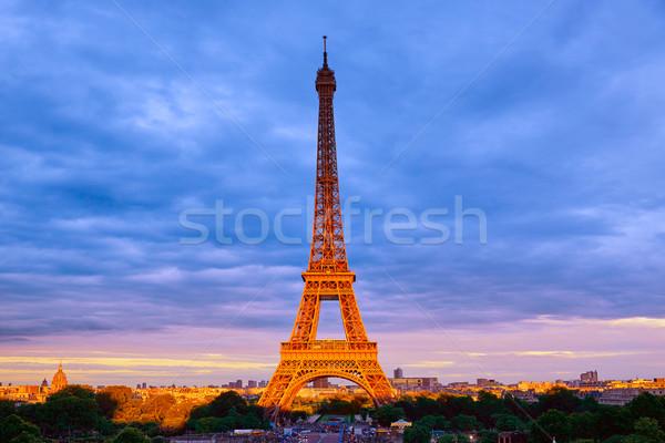 Эйфелева башня закат Париж Франция небе здании Сток-фото © lunamarina