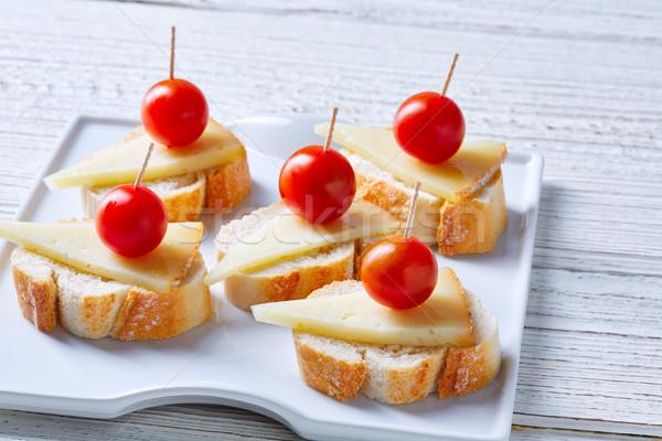 ストックフォト: チーズ · チェリートマト · 木材 · レストラン · オリーブ · 桜