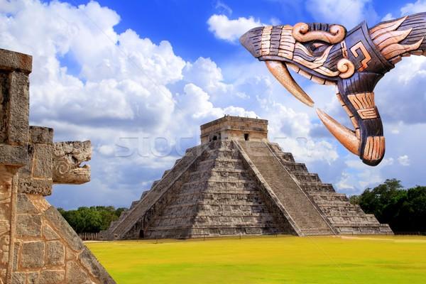 Stock fotó: ősi · templom · Chichen · Itza · kígyó · Mexikó · épület