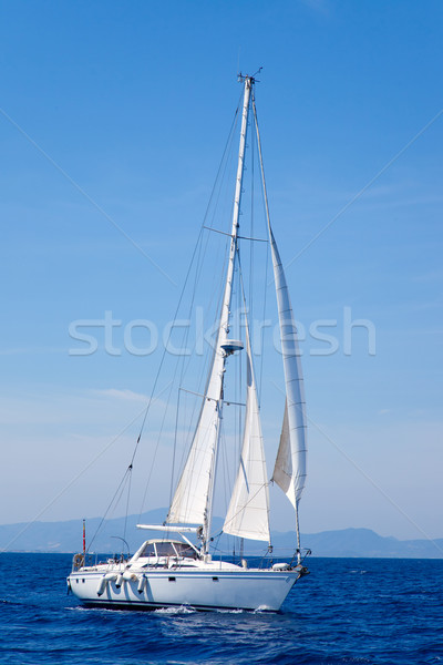 Blue Mediterranean sailboat sailing Stock photo © lunamarina
