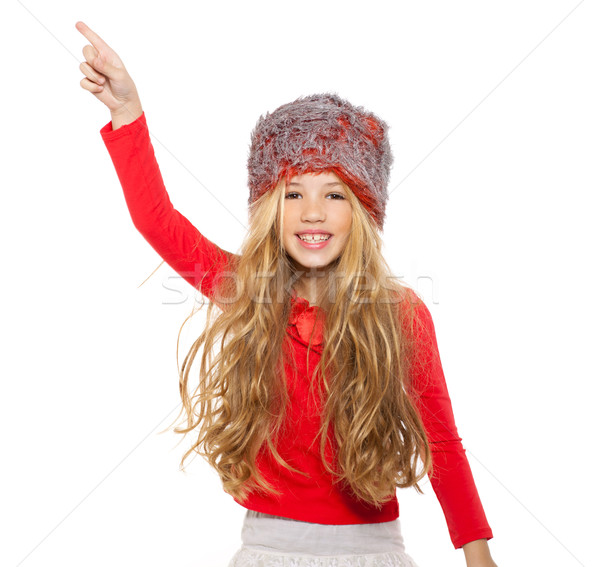 Kid девушки зима танцы красный рубашку Сток-фото © lunamarina
