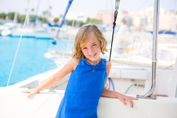 Criança criança menina marina barco verão Foto stock © lunamarina