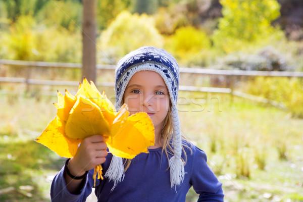 ребенка девушки осень тополь лес желтый Сток-фото © lunamarina