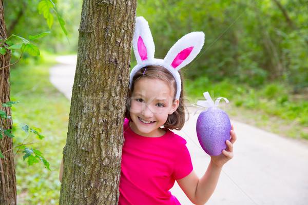 Páscoa menina grande roxo ovo engraçado Foto stock © lunamarina