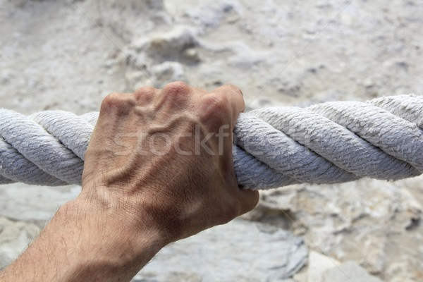 man hand grab grip strong big aged rope Stock photo © lunamarina