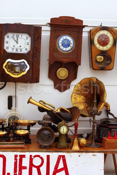 Antigüedades justo mercado pared edad relojes Foto stock © lunamarina