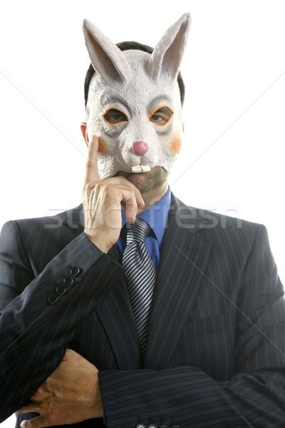 Foto stock: Empresario · funny · conejo · máscara · blanco · estudio