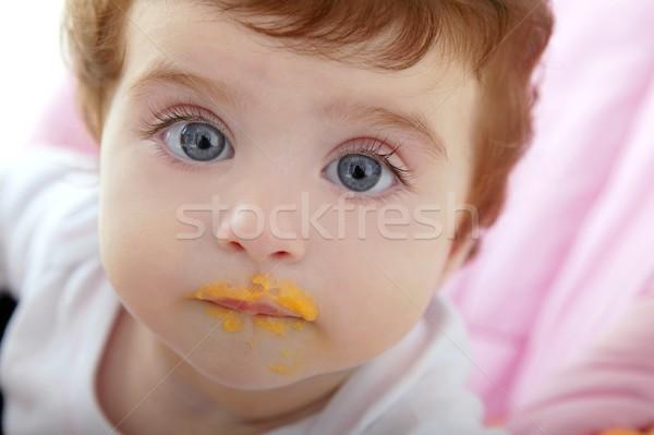 Сток-фото: ребенка · божество · рот · еды · оранжевый · цвета
