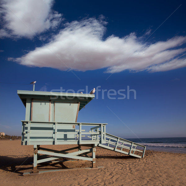 Santa Monica beach lifeguard tower in California Stock photo © lunamarina