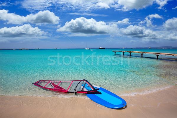 Formentera ibiza ses Illetes beach with wind surf Stock photo © lunamarina