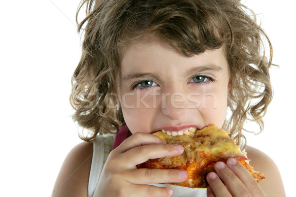 little girl eating hungry pizza closeup portrait Stock photo © lunamarina