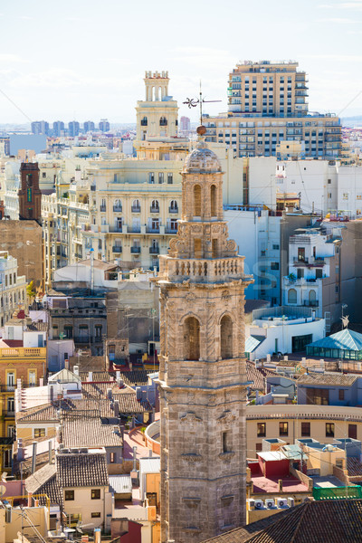 Valencia aerial skyline with Santa Catalina belfry tower Stock photo © lunamarina