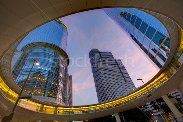Houston şehir merkezinde gün batımı gökdelenler Teksas modern Stok fotoğraf © lunamarina