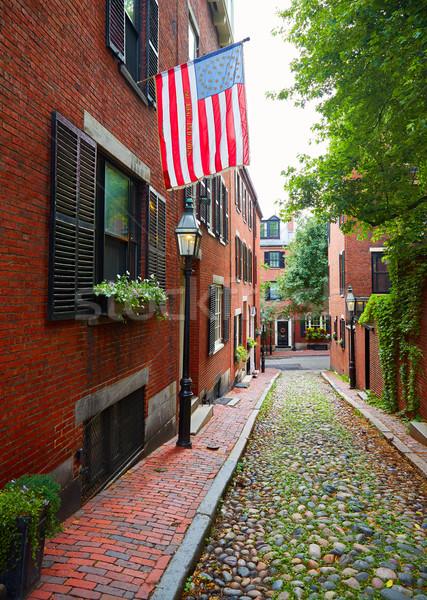 Stock photo: Acorn street Beacon Hill cobblestone Boston