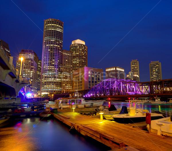Бостон закат Skyline вентилятор пирс Массачусетс Сток-фото © lunamarina