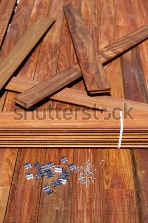 Ipe decking installation with wood slats Stock photo © lunamarina