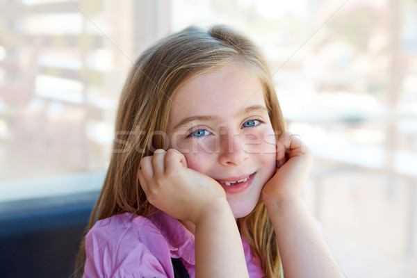 Szőke nyugodt boldog gyerek lány kék szemek Stock fotó © lunamarina