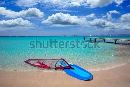 bikini girl legs lying on beach sand in summer Stock photo © lunamarina