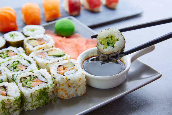 Sushi Maki and Niguiri soy sauce and wasabi Stock photo © lunamarina