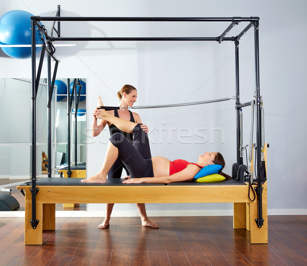pregnant woman pilates reformer leg spring Stock photo © lunamarina