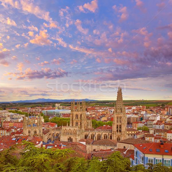 Horizonte puesta de sol catedral edificio iglesia Foto stock © lunamarina