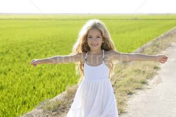 Foto stock: Abierto · armas · pequeño · niña · feliz · pradera · campo · de · arroz