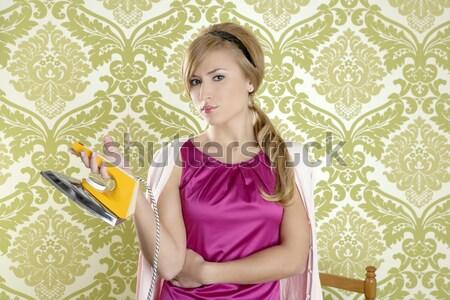 ストックフォト: レトロな · 女性 · 朝食 · 食べ · 壁紙