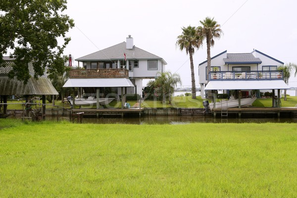 American houses in south Texas river boats Stock photo © lunamarina