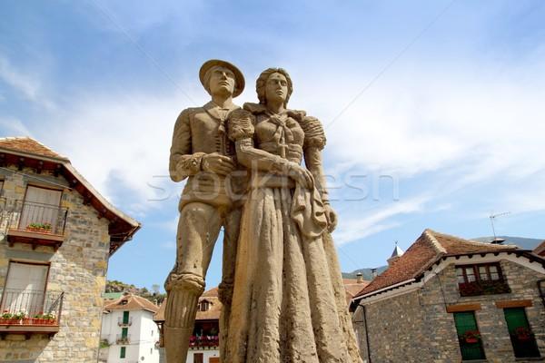 Cheso tyraditional costume statue Hecho Pyrenees Stock photo © lunamarina