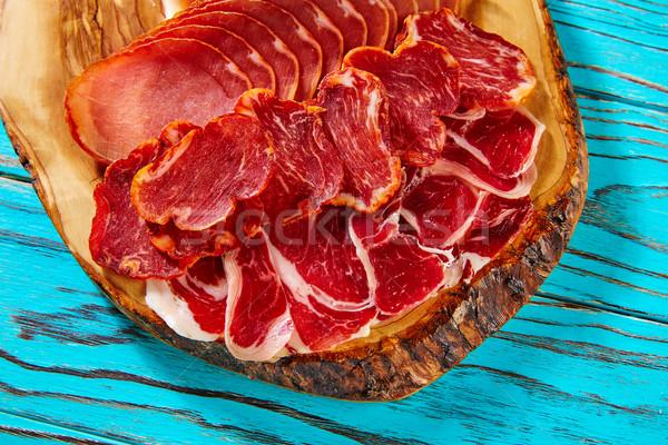 Tapas sonka kolbász Spanyolország tábla étel Stock fotó © lunamarina