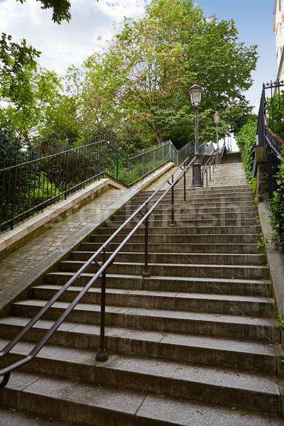 Párizs Montmartre lépcsősor lépcsőfeljáró elér város Stock fotó © lunamarina