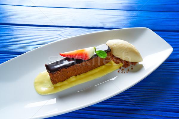 Chocolate brownie with vanilla ice-cream Stock photo © lunamarina