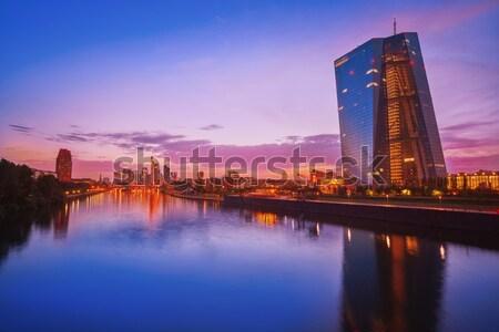 Frankfurt sziluett naplemente Németország folyó égbolt Stock fotó © lunamarina
