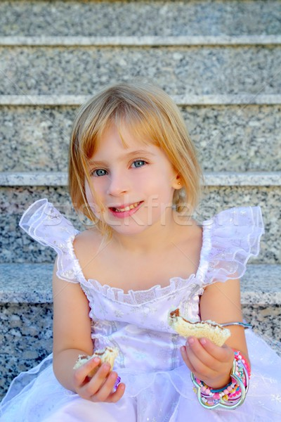 blond children princess girl eating chocolate sandwich Stock photo © lunamarina
