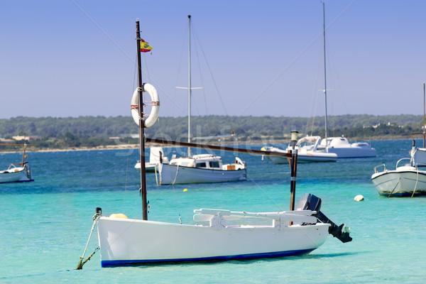 Stock photo: estany des peix in Formentera lake anchor boats