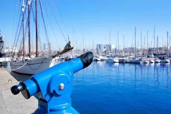 Барселона порта марина синий телескопом Парусники Сток-фото © lunamarina