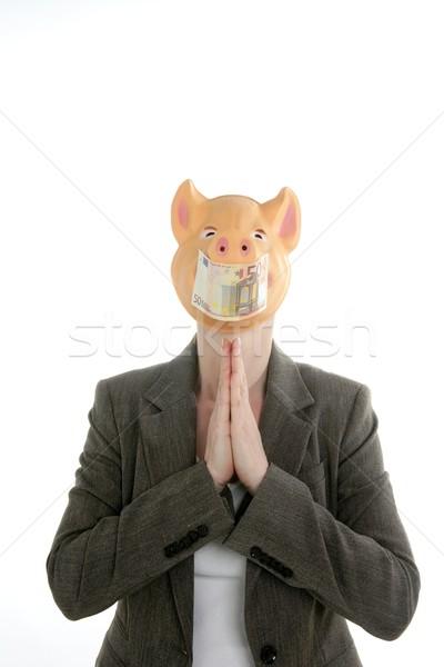 Woman with swine face, Euro note mask Stock photo © lunamarina
