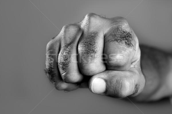Peloso uomo pugno primo piano grigio abstract Foto d'archivio © lunamarina