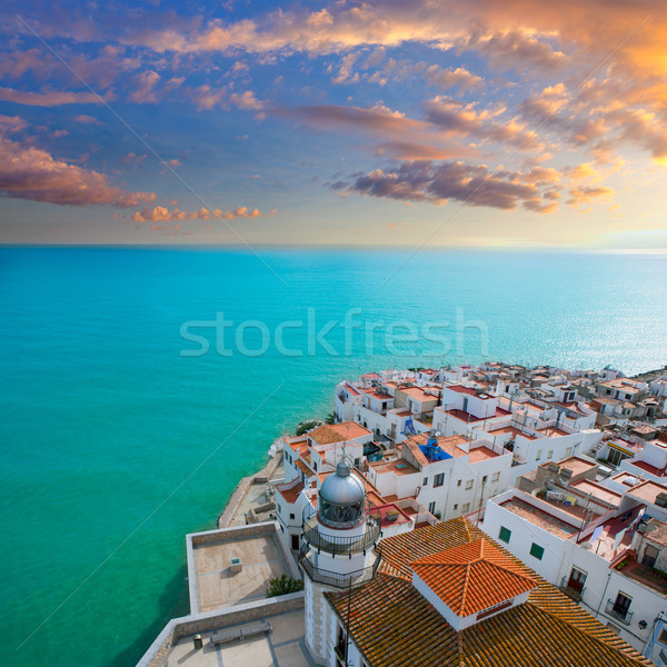 Peniscola beach and Village aerial view in Castellon Spain Stock photo © lunamarina