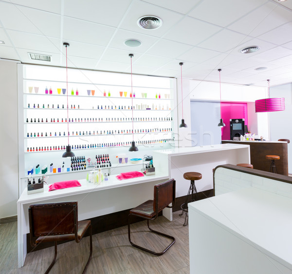 Nail and pedicure saloon modern with nail polish colorful in a r Stock photo © lunamarina