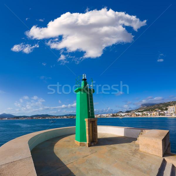 Groene vuurtoren baken Spanje haven middellandse zee Stockfoto © lunamarina
