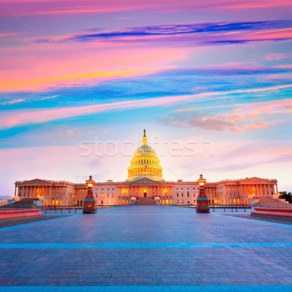 Edifício Washington DC pôr do sol congresso EUA casa Foto stock © lunamarina