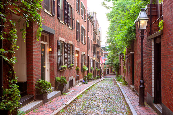 Acorn street Beacon Hill cobblestone Boston Stock photo © lunamarina