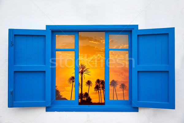 Almeria from window Cabo de Gata palm sunset Stock photo © lunamarina