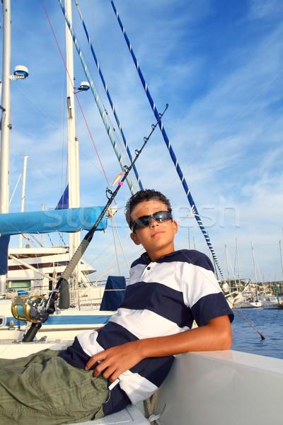 boy relaxed teenager on boat marina summer vacation Stock photo © lunamarina